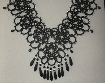 Black and silver statement tatted necklace & earrings with Swarovski crystals and Czech glass, tatting jewelry, original design