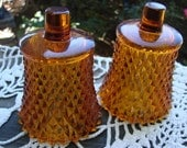 Reserve for Melanie Pair of Vintage Homco/Home Interior Amber Glass Diamond Point Votive Cups