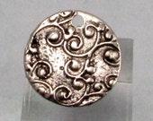 Ornate Disc Pendant, Antique Pewter, 22 MM, AP93