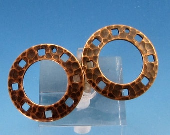 Hammered Ring With Holes, Brass Ox, 2 Pieces, AB122