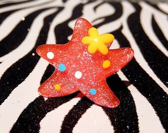 Starfish Ring, Red Star, Kawaii Glitter Adjustable Ring