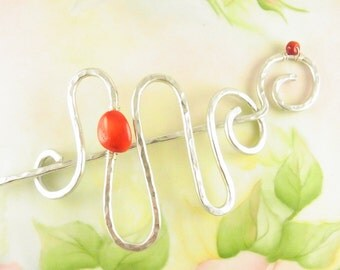 Silver Hair Slide Large Whimsical Squigglel with Bamboo Coral