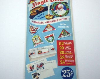 Vintage 1940s Unopened Assorted Jingle Bells Christmas Gummed Seals Stickers Gift Cards Sealing Tapes and Tags by Fred Fear & Co Set of 234
