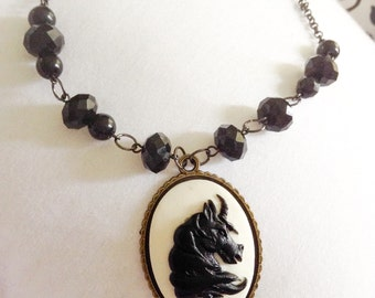 horse cameo black beaded chain antique look classic rodeo link necklace pendant