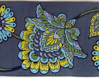 MOROCCAN FLORAL fabric Jacquard trim in Blues Green Aqua Yellow on slate blue grey High end selection. 2 inches wide. 2003-B