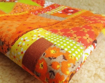 Vintage 1960s Calico Fabric in Patchwork Orange Crazy Quilt Mid Century Yellow Orange Brown Green Floral Poly Blend Sewing Material
