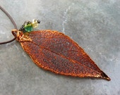 Real Leaf Pendant - Copper - Evergreen - Faceted Crystal