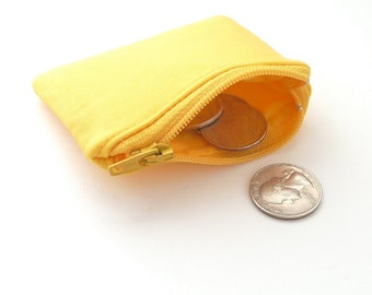 yellow mini pouch. jewelry case travel. flash drive case. pill ear bud memory flash drive holder. tiny coin purse. party favor girl boy