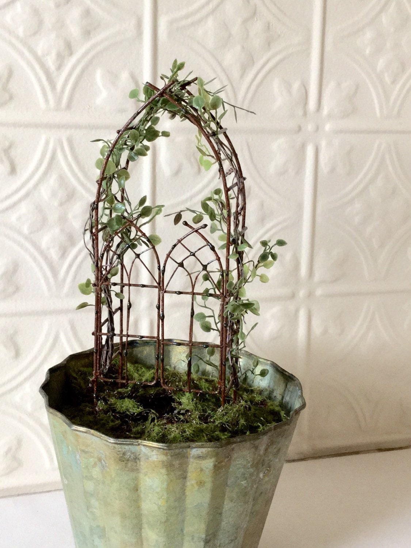 Miniature Fairy Garden Trellis With Angel Vine