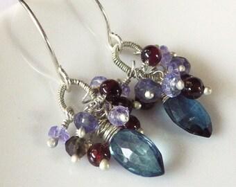 Gemstone Cluster Wire Wrapped Earrings -- Garnet, Tanazanite, London Blue Quartz