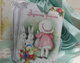 French Rabbit Easter Tags - Set of 6 Gift Tags
