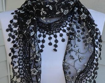 Black Lace Scarf, Black  Mantilla scarf, Lace scarf, lace shawl, shawl scarf, black scarf