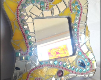 Mirror Mosaic Stained Glass Agate Hanging Mixed Media Art