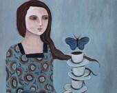 A Delicate Balance, butterfly, woman's art, fine art, greeting card