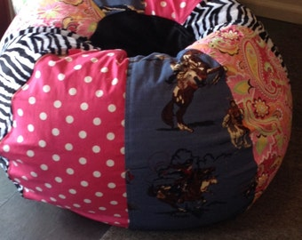 NEW Vintage Style Cowgirl Bean Bag chair with paisley pink polka dots and zebra funky and fun