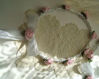 Handmade Ribbon Rosette Flowergirl Halo Choice of White or Ivory and Ribbon Rose Colors,Wreath, Wedding, Bridal, Flower Girl,