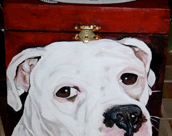Custom Wooden PET URN for dogs and cats  large with latch portrait