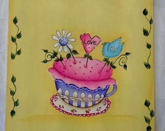 Prim Teacup Pincushion Clip Board Painting