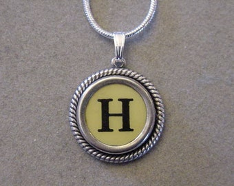 Typewriter key jewelry necklace CREAM  LETTER H  Typewriter Key Necklace Initial Necklace