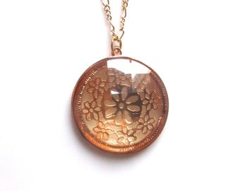Copper and Gold Medallion Necklace, Vintage Necklace, Medallion Necklace
