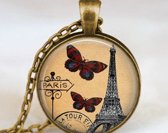Eiffel tower postcard necklace , eiffel tower butterfly pendant , paris jewelry , eiffel tower postcard charm, eiffel tower jewelry