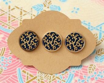 10 pcs handmade deep blue - earrings, pendant, ring - 12mm (PW-054)