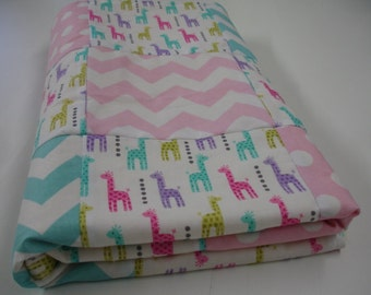 Little Giraffes Aqua and Baby Pink Chevron and Dots Patchwork Minky Blanket MADE TO ORDER No Batting