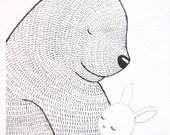 Bunny Bear Print Love Illustration Print Ink Drawing Black & White Wall Decor Woodland Nursery Art Print Rustic Home Decor Rabbit 5x7 MiKa