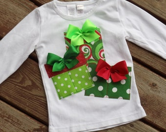 """FUNKY GIRLS """"O Christmas Tree"""" Swirl gift boxes  Style tee sizes 6-12-18-24 mth 2-3-4-5-6-7-8"""