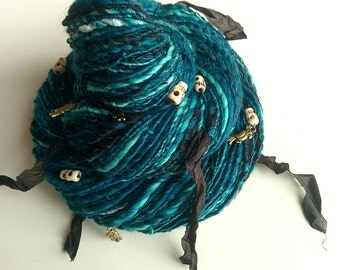 Pirate Art Yarn - UNDER JOLLY ROGER - Ocean Turquoises and Teals, Black, White, with Skull Beads, Silk Fabric, Parrot Charms. 184 y, 3.95 oz