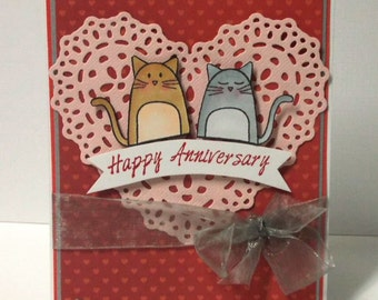 Happy Anniversary Love Cat Card - Blank