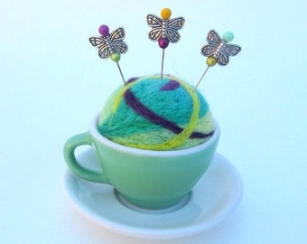 SHOP CLOSING SALE - Pin Cushion - Needle Felted - In Small Ceramic Tea Coffee Cup With Saucer - Green