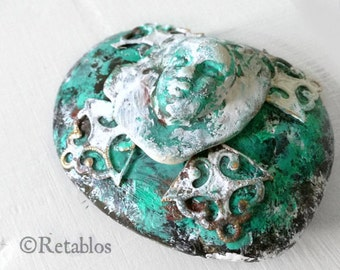 Mexican Folk Art - Retablo Folk Art, Outsider Art, Upcycled Assemblage, Patina Rock, Polymer Face