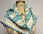 Boho Chic Seafoam & Ecru Crochet Scarf Wrap