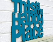 Happy Place Sign, Wood Quote Sign, Wood Text Wall Art, Wood Sayings Sign, Wood Meme Sign, Funky Wood Sign, Wood Sign Decor, Wood Word Sign