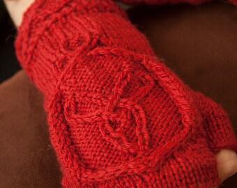 Celtic Knit Red Fingerless Gloves