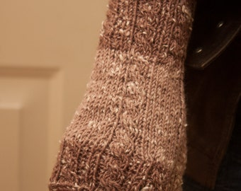 Tan and Brown Cabled Fingerless Gloves