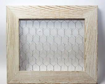 Large 8x10 Chicken Wire Frame Organizer Note Holder Jewelry Organizer White Rustic Decor Shabby