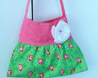 little girls purse toddler handbag tote in mint green pink rose floral birthday gift