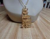 Vintage Gold Cat Necklace