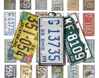 Vintage License Plates 1x2 inch  Digital Collage Printable for domino and rectangle jewelry-Digital Download, Instant Download