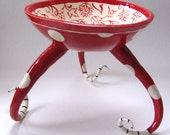 tall pottery Red Serving Bowl with legs :) big colorful red polka-dots and hand painted floral, whimsical toile Home Decor