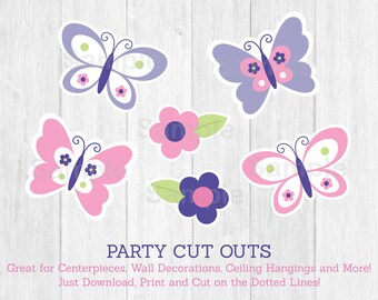 Cute Pink Butterfly Cut Outs / Butterfly Baby Shower / Butterfly Decorations / Pink & Purple / Baby Girl Shower / Printable INSTANT DOWNLOAD