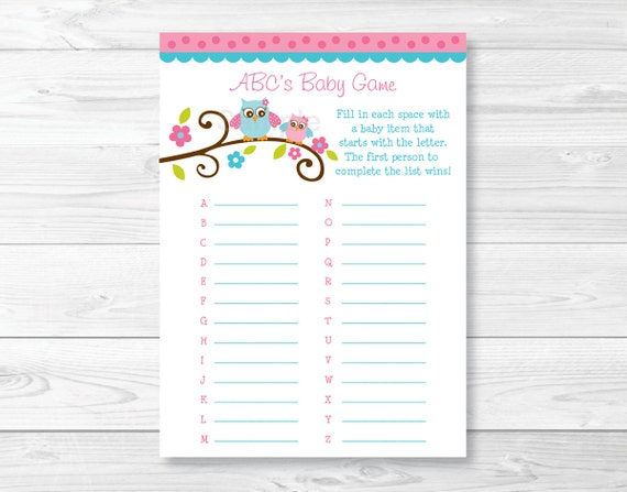cute pink owl baby abc game owl baby shower baby shower abcs game