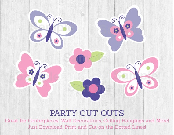 Pink Butterfly Cut Outs / Butterfly Baby Shower / Butterfly Decorations /  Pink U0026 Purple / Printable INSTANT DOWNLOAD A248