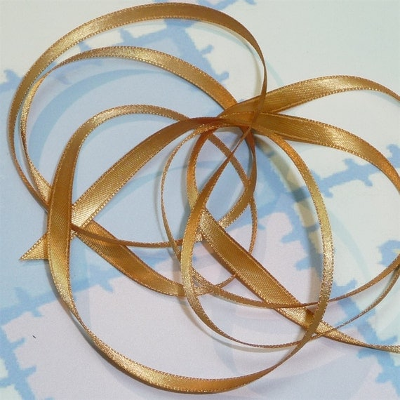 OLD GOLD DouBLe FaCeD SaTiN RiBBoN, Polyester 1/4 inch wide, 5 Yards