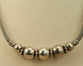 Heavy Vintage Sterling Silver  Braided Foxtail and Bead Necklace