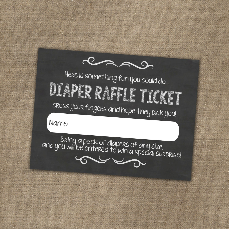 Chalkboard Diaper Raffle Ticket Insert for Baby Shower