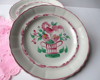 Vintage Dinner Plates Fondeville Chanticleer Pink Green Dinner Plates Set of Four, Country Charm