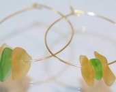 Gold Hoop Earrings, Historical Glass Earrings, Sandwich Glass Butterscotch and Green